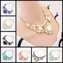 Women's Fashion Retro Ethnic Style Rhinestone Necklace Choker Crystal Bubble Irregular Flowers Pendants Chain 8 COLORS(China (Mainland))