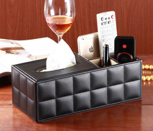 rectangle Creative PU Leather Tissue Box Holder, Multifunction Tissue Box Holder Pen Pencil Holder Remote Control Holder(China (Mainland))