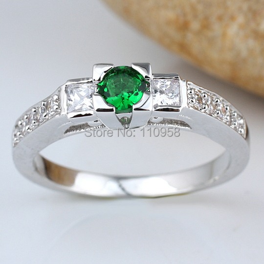 Lady Round Red Ruby Green Emerald Blue Topaz White Sapphire Pure Wedding 925 Sterling Silver Ring R146 Size(China (Mainland))