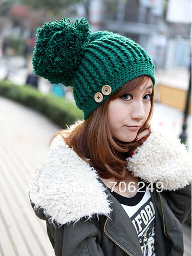 Big Pompom Women Winter Fashion Knitted Solid Color Caps Cheap Lady Skullies & Beanies Hat - ELLEN FASHION ACCESSORIES store