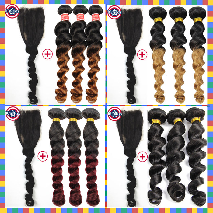 Cheap Brazilian Virgin Hair With Closure Loose Wave Ombre Hair Extension With Closure 3 Bundle Brazilian Loose Wave With Closure
