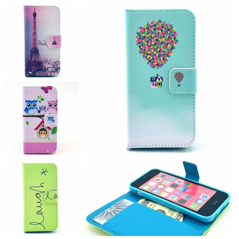 2015 New Retro Fashion man/woman Magnetic Leather Flip Case Stand Cover For iphone 5c With Card Holder GA009(China (Mainland))