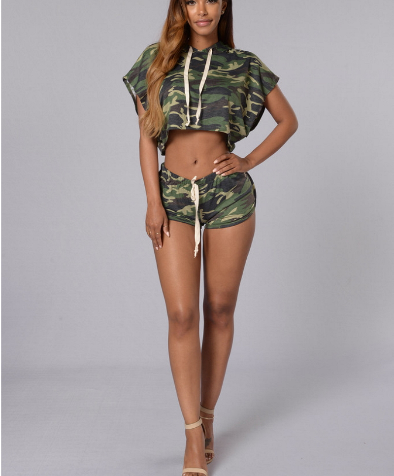 Army green camouflage print two piece outfits for women for Green camo shirt outfit
