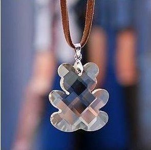 Free Shipping 12Pcs/Lot Transparent Crystal Bear Leather Cord Necklace