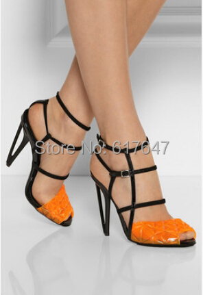 2015 New Fashion Women Brand Design Peep Toe Yellow Cut-out Strange Heel Sandals HIgh Newest Shoes - Western Style Boutique store
