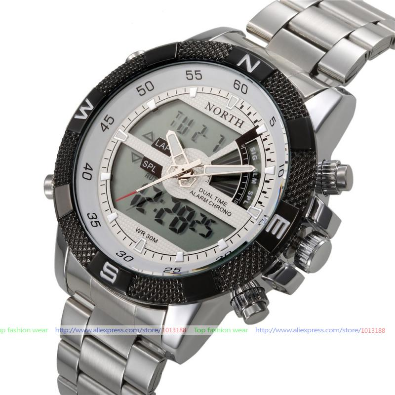 2016 New Luxury Brand NORTH Men Army Military Watch Men's Quartz LED Digital Clock Full Steel Wrist Sports Watches - Shenzhen Guardian House Ltd. store