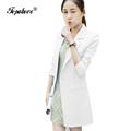 2016 New Arrival Women blue white Suit Blazer Cotton Ladies Jacket Vogue Refresh Solid long Blazers