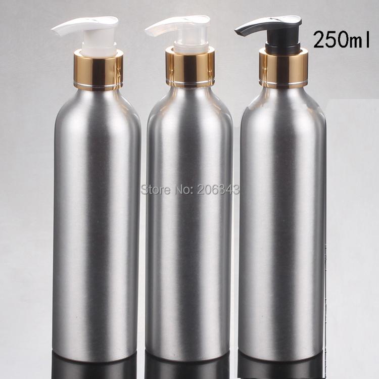 250ml Aluminium bottle bottle  metal bottle with gold collar   white/transparent/black press pump