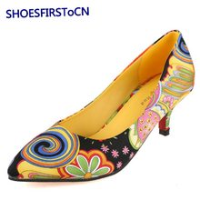 Fashion Party Woman Shoes Pointed Toe Slip-on Women Pumps Flowers Design Red Bottom High Heels 33-41 Big Size Thin Heels Shoes
