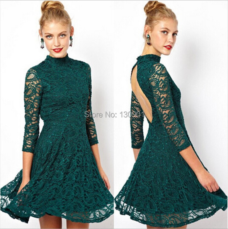 Casual Lace Women Dresses Hollow Long Sleeves Party Gown Prom Mini Dress Backless beige,green - Hong Kong Lu Lin Apparel Company LTD store