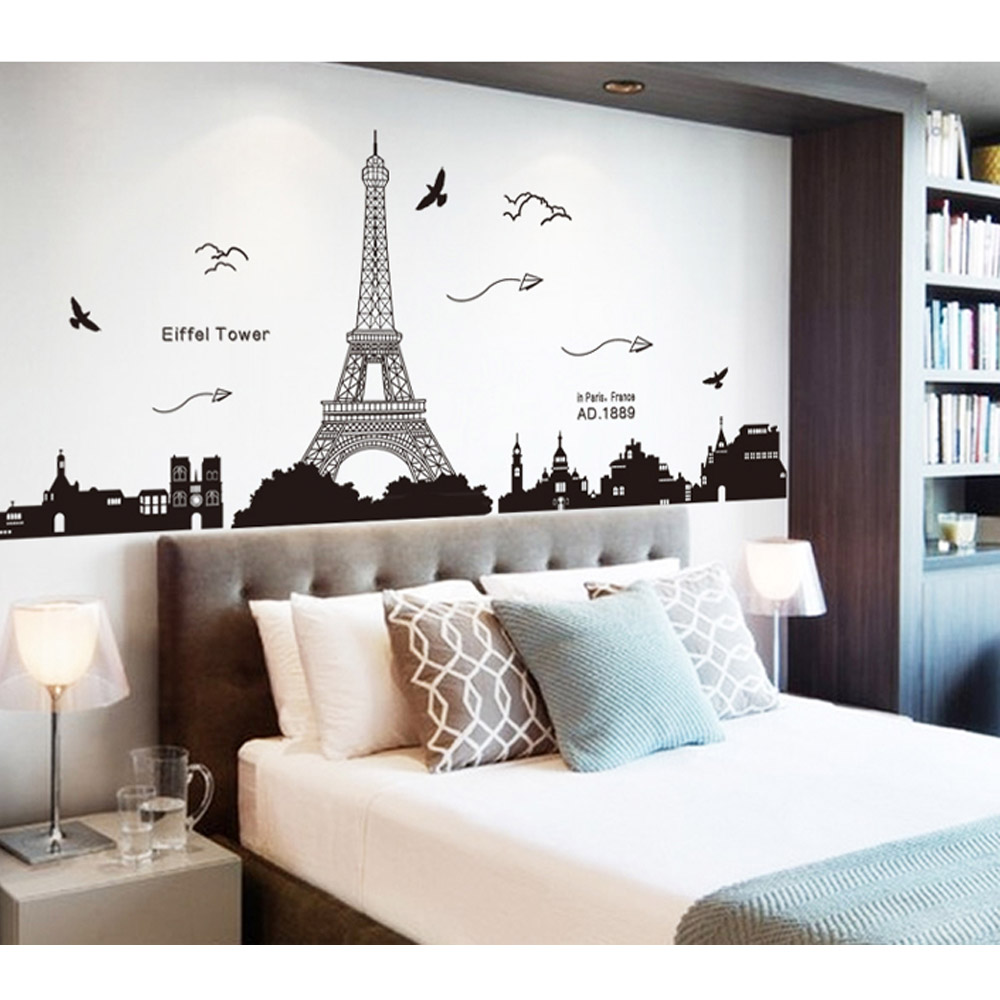 Paris Eiffel Tower Night View Beautiful Romantic Simple Black DIY Wall Stickers Wallpaper Art Decor Mural Living Room Decal(China (Mainland))