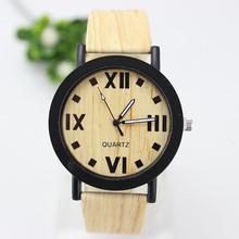 Nuevo estilo de 2015 mujeres reloj de cuero de grano de madera correa de reloj de cuarzo Simple ocasional del reloj de pulsera mujeres Femininos regalos