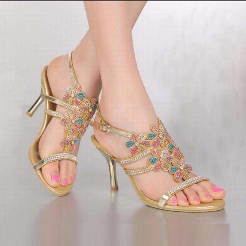 hot 2016 new arrival bling bling rhinestone flower high heels sandals colorful crystal women gold peep toe shoes plus size 34-44