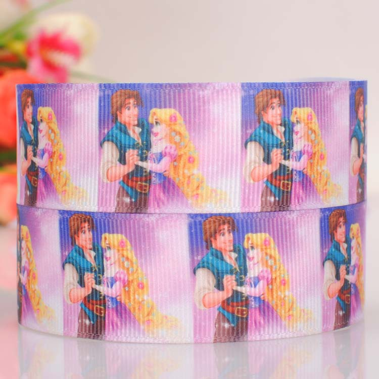 """10 yards 1 """"25mm lovely Cinderella and the prince pattern grosgrain tape DIY ployester ribbon(China (Mainland))"""