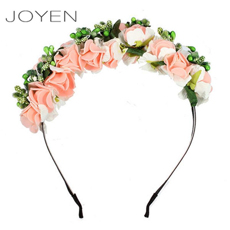 JOYEN Bridal Wreath Flower Headband For Women Crown Hair Clip Girls Bohemian Princess Party Floral Garland Wedding Headwear(China (Mainland))