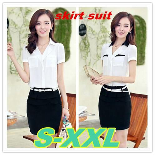 S-2XL size office uniform women's suits 2014 new plus chiffon women blouses skirt sets work wear - 5A Online Store store