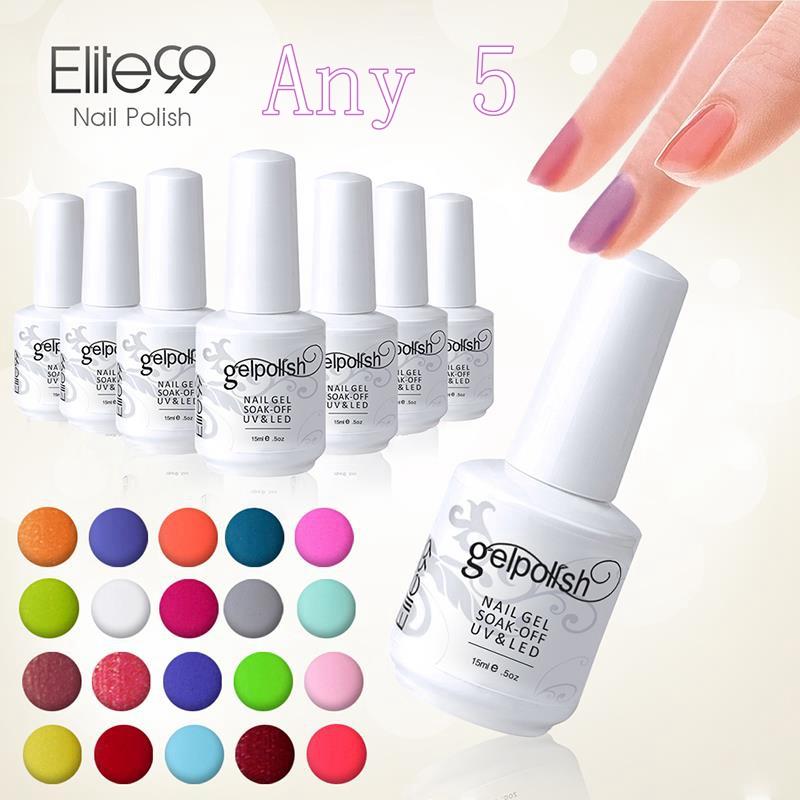 Elite99 Gel Polish 5pcs Gel Lacquer UV Curing Top Coating Base Foundation DHL Free To USA Wholesale Price Gel Nail Polish