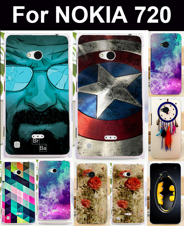 Phone Bags Housings For Nokia Lumia 720 N720 N720T Case Cover Skin Shell Covers Marvel Captain American Batman Shield Cases(China (Mainland))