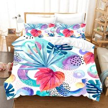 3D rose peony flowers bedding set Duvet Covers Pillowcases fruit Watercolor print comforter bedding sets bedclothes bed linen(China)