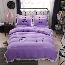 Cute Eyes Print Solid Color Purple Pink Blue Grey Orange Bedding Set Queen King Size Duvet Cover Bed Sheets Cheap Textile Sets(China)