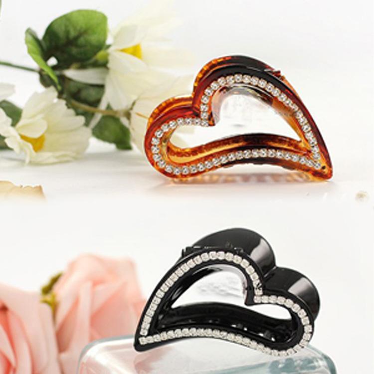 2014 Hot Sale Love Heart Shaped Rhinestone Hairpins Peach Hair Clip Hair Accessories 2 colors(China (Mainland))