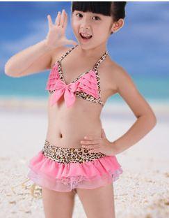 2015 new brand Leopard girls Bikini kids Swimsuit child bathing suits shower cap Swimwear saia bikini infantil - select fashion ocean store