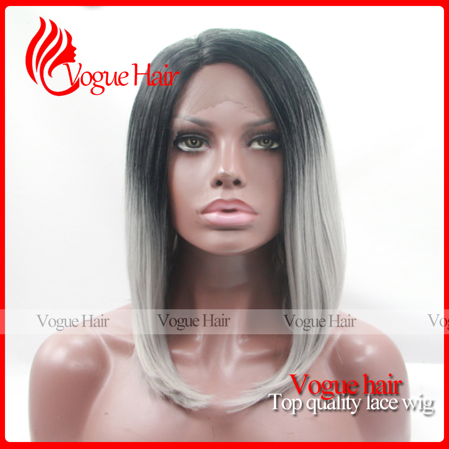 Fashion Grey Synthetic Lace Front Wig Glueless Ombre Natural Black/Silver Grey Short Bob Heat Resistant Hair Wig For black Women<br><br>Aliexpress