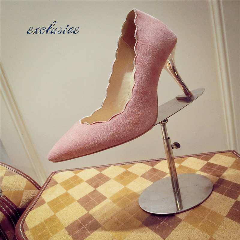 Thin Heels Ruffles Pumps Flowers High Quality Nubuck Leather Sheepskin Pointed Toe Shoe Pink Green Handcrafted Party 9.5cm Pumps<br><br>Aliexpress