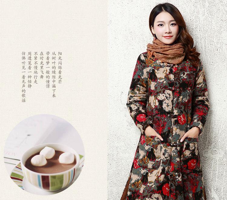 Скидки на 2016 Осень Китайский Стиль Цветочный Принт Хлопок Проложенный Белье Свободные Длинным Рукавом Макси Халат Зимнее Пальто Женщин