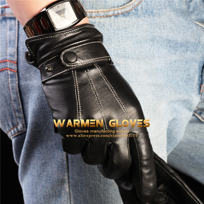 Warmen Men's Winter Warm Driving 100%Lambskin Leather Gloves(China (Mainland))