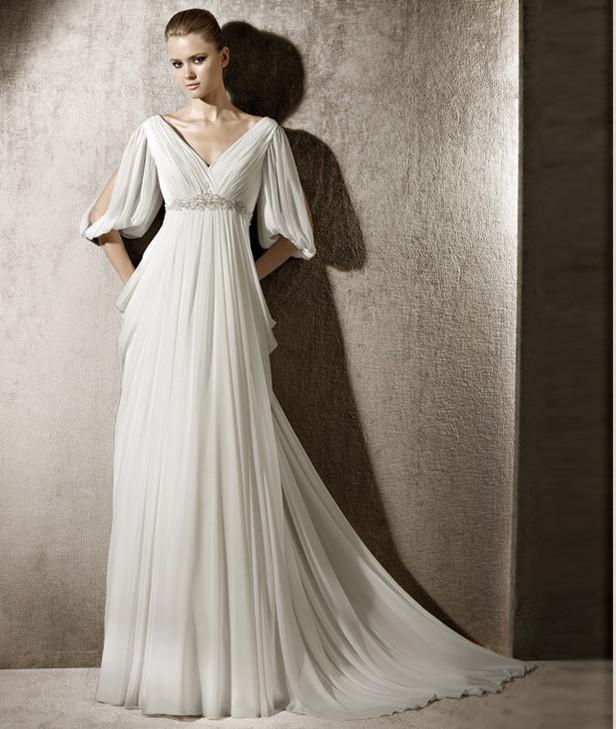 Buy elegant v neck open half sleeves for Grecian wedding dress with sleeves