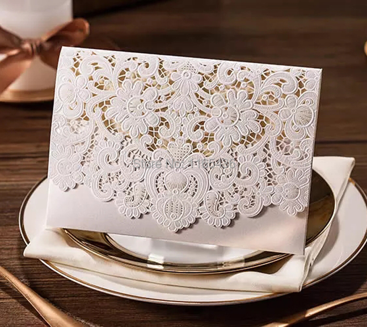 Laser Cut Gold Platinum: Laser Cut Wedding Invitations Gold Silver Paper Blank