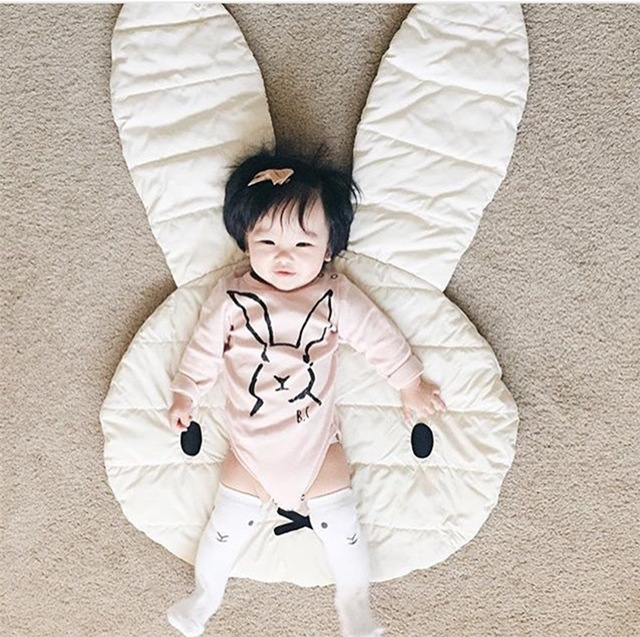 Fashion bunny Rabbit Playmat Blanket Baby Play Rug cute Game Mat Children Room Decoration Creeping 1pc 100*69CM free shipping(China (Mainland))