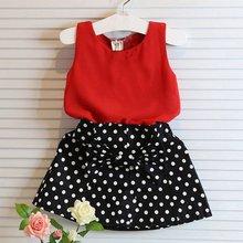 2pcs Baby Girl Clothes Set Sleeveless T-shirt+ Polka Dot Skirt Outfits Children Clothing 20(China (Mainland))