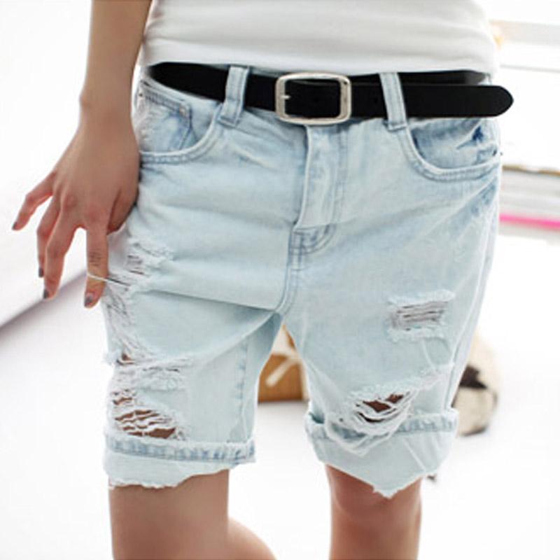Shorts Women 2017 Fashion Dog Embroidery Pocket Ladies Jeans Vintage Trousers Women Hole Denim Short Pants S/M/L/XL