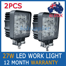 2Pcs 27W Flood Beam Led Work Offroads Lamp Light Truck Boat 12V 24V 4WD 4×4 Driving Lights AU-STOCK