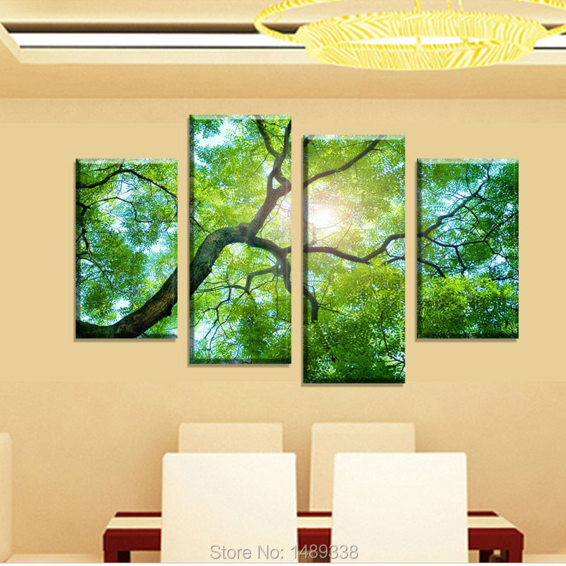 Free shipping 4 Panel Green tree Painting Canvas Wall Art Picture ...