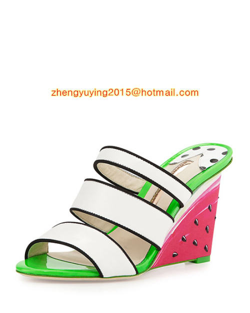 Leather and satin sandal with watermelon motif Multi-strap Contrast leather footbed wedge shoes Brooke Watermelon Wedge Sandal<br><br>Aliexpress