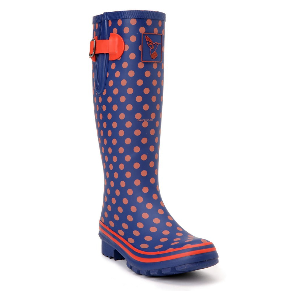 Evercreatures UK Brand 2015 Fashion Blue Pink Dots Rubber Boots Rain Boots Wellies For Women(China (Mainland))