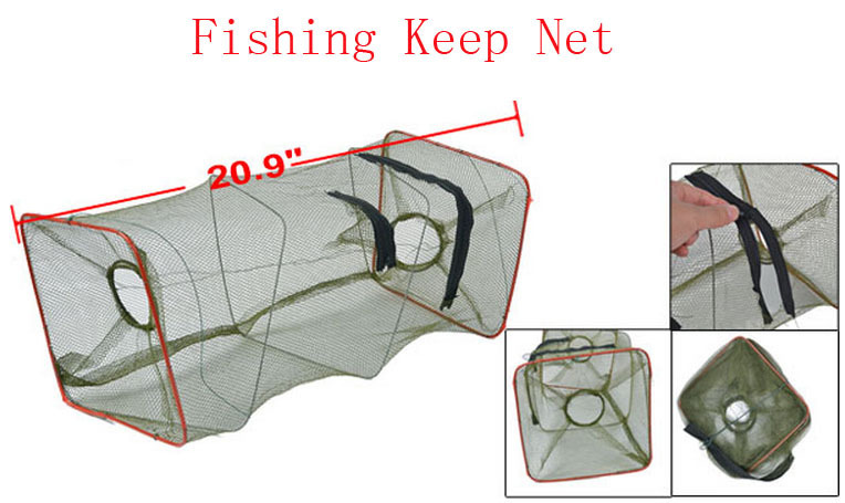 "20.9"" Height 2 Sections Folding Fish Shrimp Cage Fishing Keep Net Olive Green 10pcs(China (Mainland))"