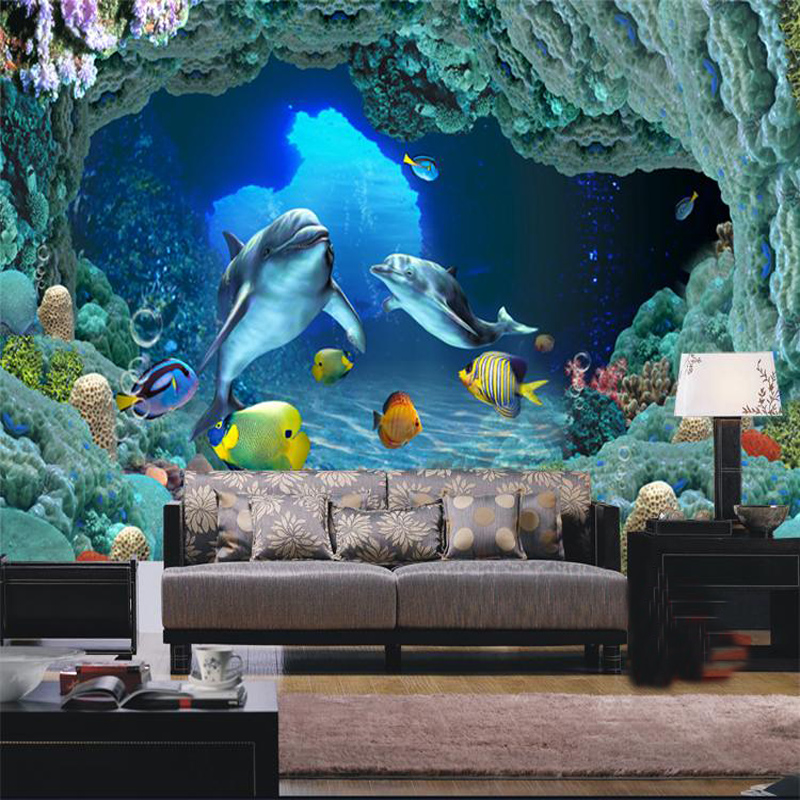 Custom large shark picture mural 3d wallpaper for children for Childrens mural wallpaper