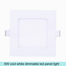 Aluminum+Glass 6W Square LED Panel Light  Dimmable Cool White Ceiling Lamps LED Lights For Home Decor LED Panel Bulb AC100-240V(China (Mainland))