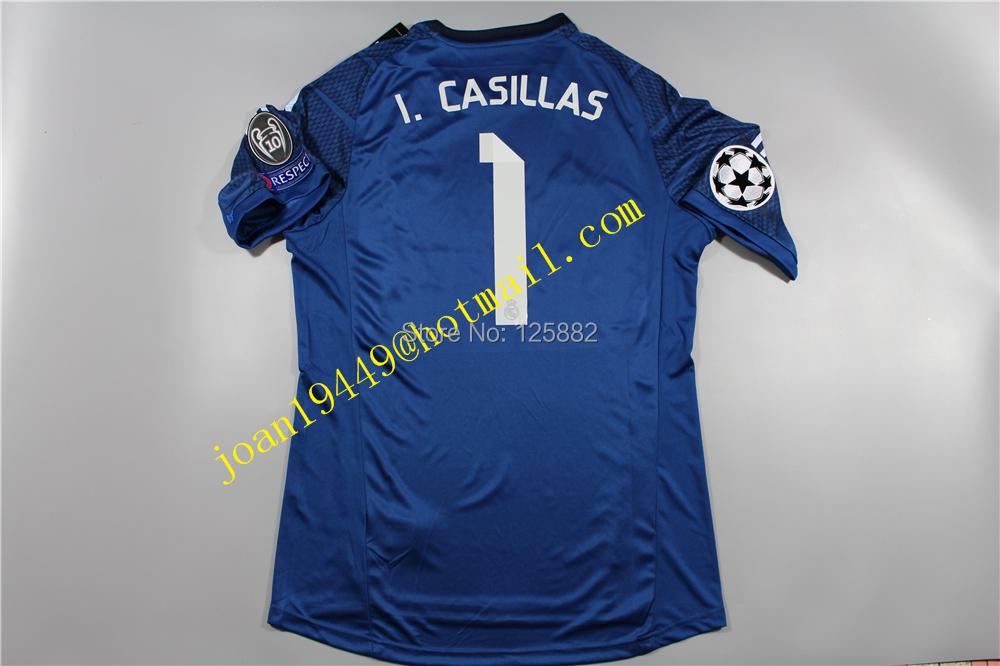 14-15 Season Real Madrid Goal-Keeper Jersey ,1# I.CASILLAS thai quality soccer Jersey(China (Mainland))