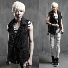 men punk vest 2015 male fashion style vest costume personalized slim vest mens novelty vest(China (Mainland))