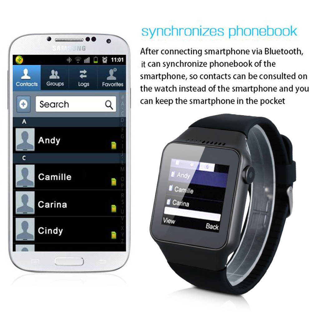 Excelvan Bluetooth Smart Watch with Camera Unlocked SIM Phone Watch Sync Call Reminder Anti-lost phone mate for Android IOS(China (Mainland))
