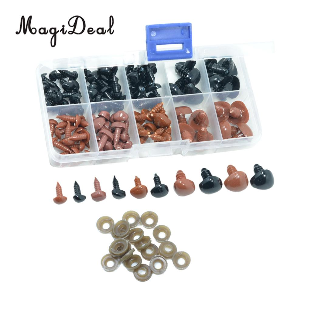 100 Pieces Plastic Safety Noses Eyes For Bear Doll Toy DIY Crafts Brown and Black