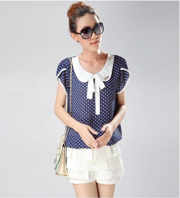 ST201 New Summer Fashion Polka Dot Chiffon Blouse Charm Bow Casual Short Sleeve Women Shirt Plus Size XXXL Clothing - First Mall store
