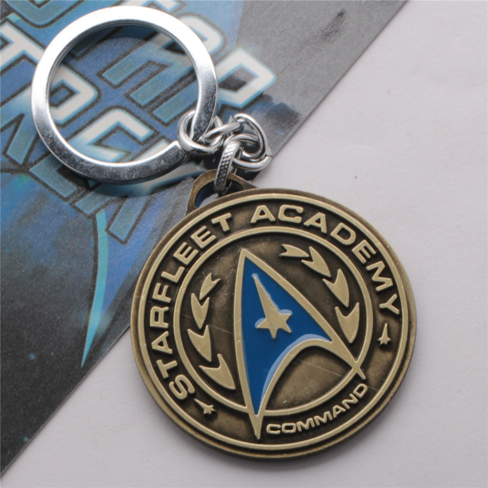 StarTrek Classic Key Chain Antique Bronze Plated Star fleet Academy Badge Keyring Star Trek Enterprise Keychain Jewelry(China (Mainland))