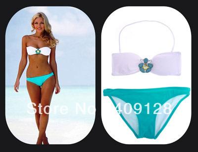 2013 new swimwewar women sexy green bikini push up bathing suit vs bikini sexy shoulder strap swimsuit free shipping
