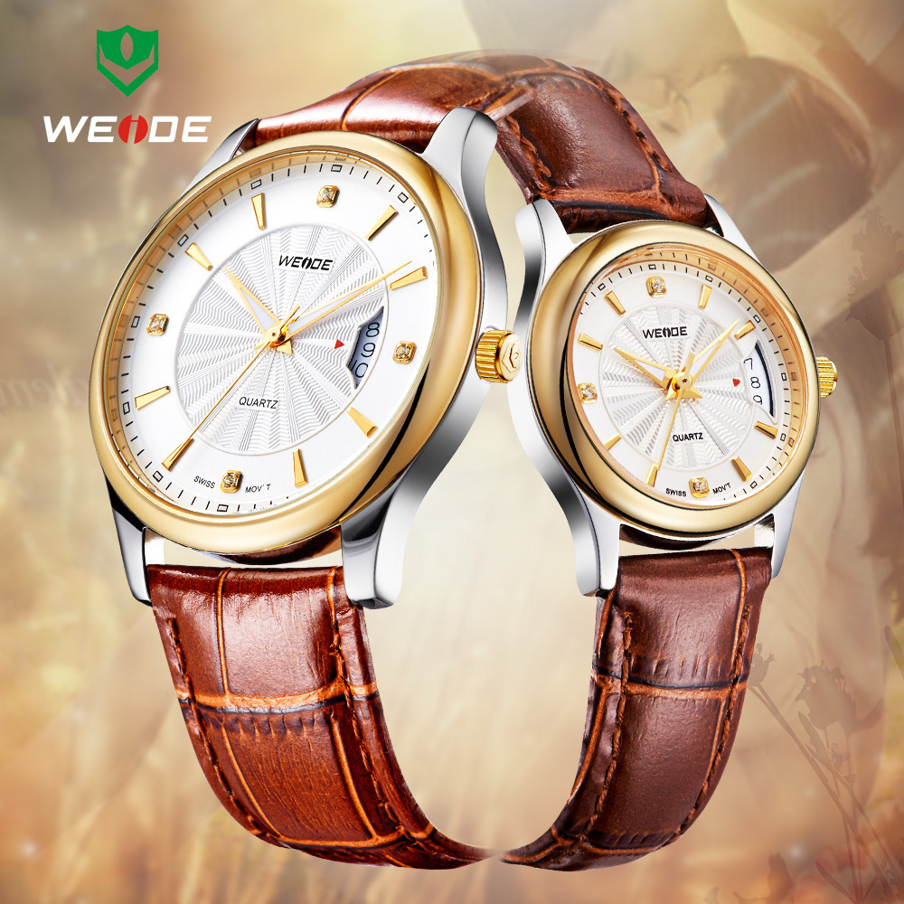 WEIDE Lover's Wristwatches Famous Brand Fashion Luxury Leather Strap Gold Plated Round Case Waterproof Design Gifts For Couples(China (Mainland))